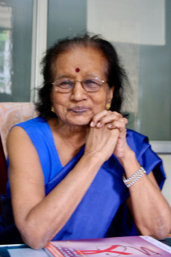 Image of Dr. Nirmala Kesaree at her desk in August 2006