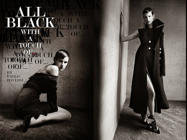 VOGUE ITALIA Saskia De Brauw in All Black With A Touch Of... by Paolo Roversi. Jacob K, July 2014, www.imageamplified.com, Image Amplified