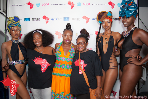 Ankara Swim Exec Producer, Evelyn Onyejuruwa with production team and models