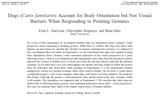 Journal of Comparative Psychology article: Dogs (Canis familiaris) Account for Body Orientation but Not Visual Barriers When Responding to Pointing Gestures
