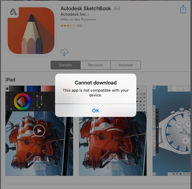 SketchBook iOS: Diese App ist nicht kompatibel mit Ihrem
