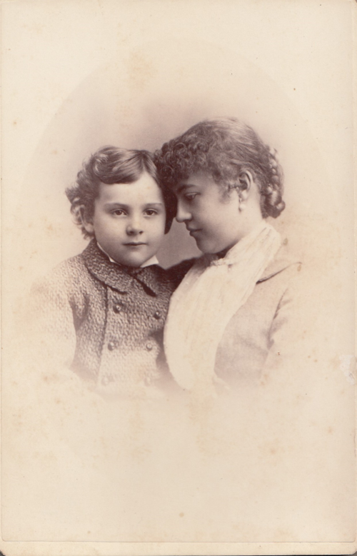 Vintage cabinet card circa 1880s boy and Mom touch heads (2)