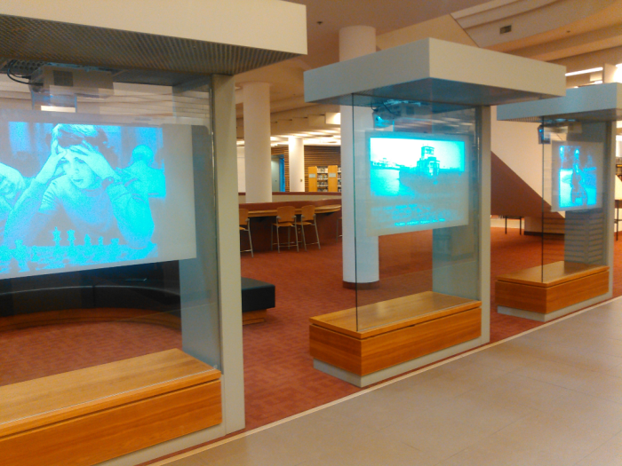 Toronto Reference Library display on 2nd floor of local photographers works from the Digital Archive.