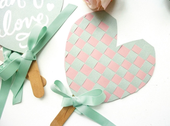 How to create woven heart wedding fans by erin hung of for Can i make my own wedding dress