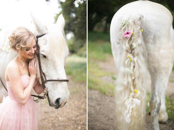 Fairytale secret garden wedding with vintage dress in pink layered tulle
