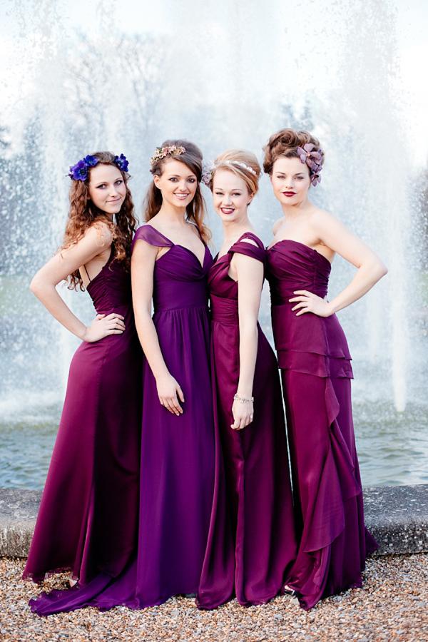 Bridesmaid dresses, same brand/colour, different fabrics? Pics please