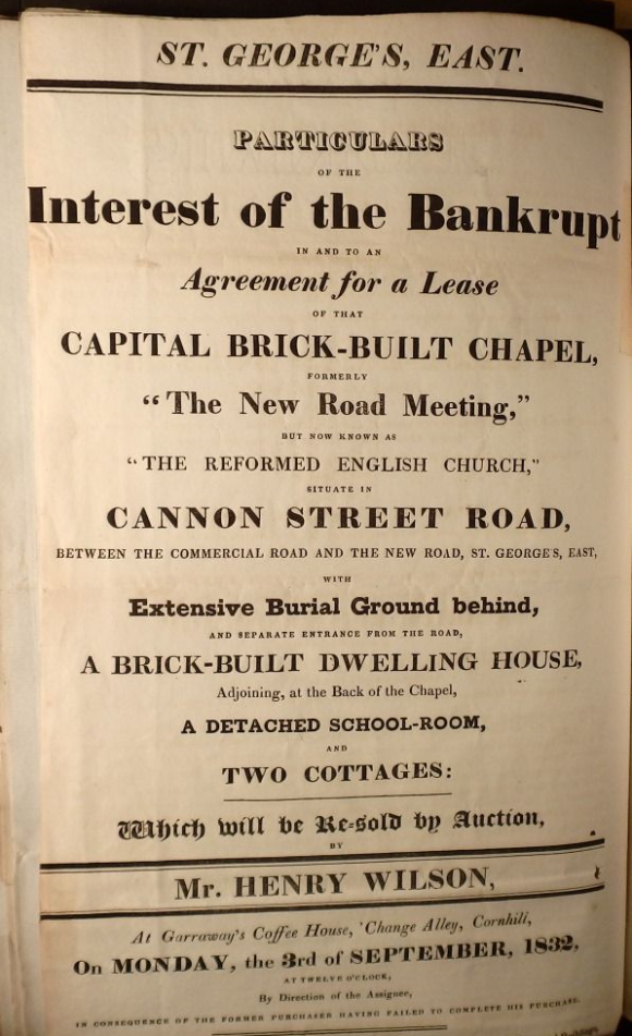 Bill of sale for lease of Trinity Chapel 1832