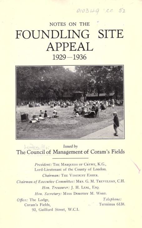 Cover of Notes on the Foundling Site Appeal 1929-1936