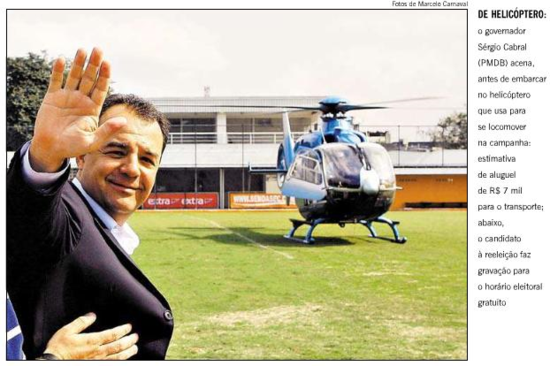 Sergio Cabral y su helicóptro oficial