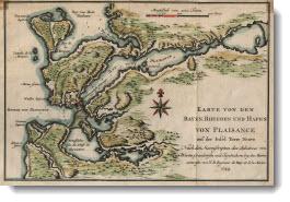 Karte von den Bayen Rheeden und Hafen von Plaisance auf der Insel Terre Neuve, 1744