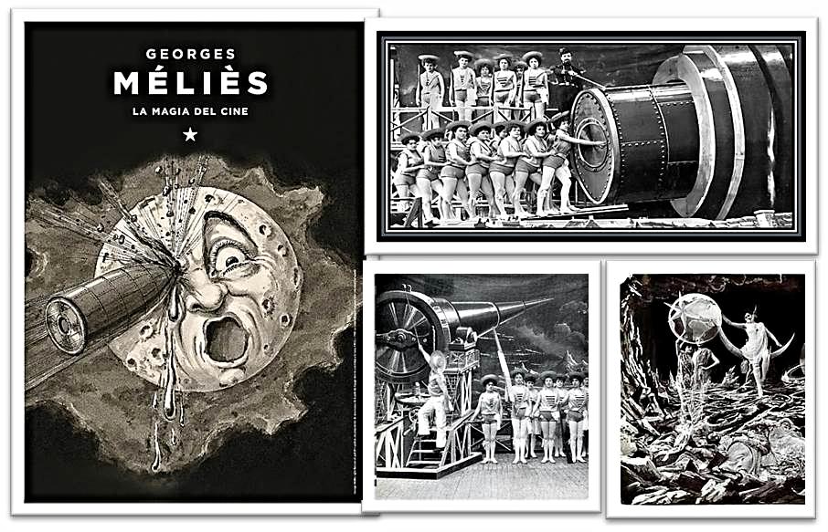 "Cartel y fotogramas de ""Viaje a la Luna"" de Georges Méliès"