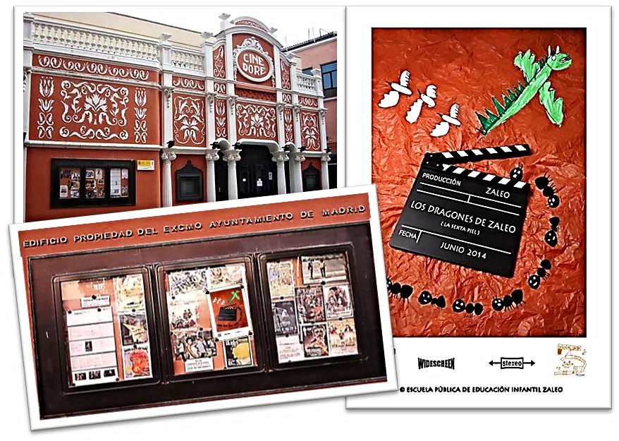 Anunciando la proyección de la pelicula 'LOS DRAGONES DE ZALEO' en el tablon de anuncios del Cine Doré  (Filmoteca Nacional) de Madrid