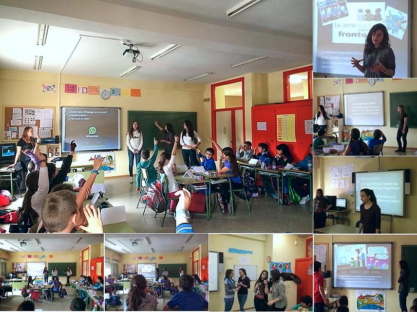 Alumnas ayudantes TIC, en una sesión de trabajo con un grupo de estudiantes de educación primaria
