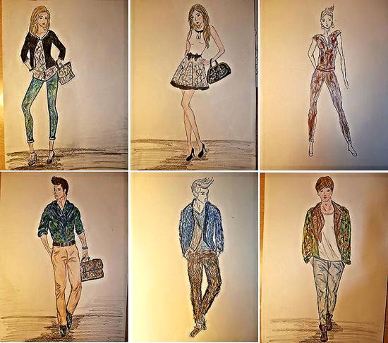 """""""Mi diseño de moda"""" de Ana Parra Fenoy, creación de una colección de moda para hombre y otra para para mujer,  inspirada en la obra del pintor Jackson Polloc. Tarea """"El dibujo como oficio: El arte de la moda"""",  de la asignatura de Dibujo Artístico II, de 2º de Bachillerato."""
