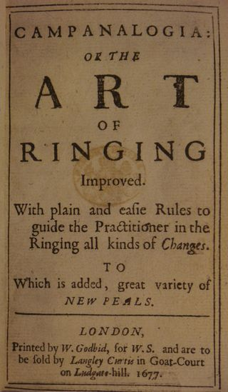 The title-page of Stedman's Campanalogia (London, 1677). British Library  C.175.d.45.