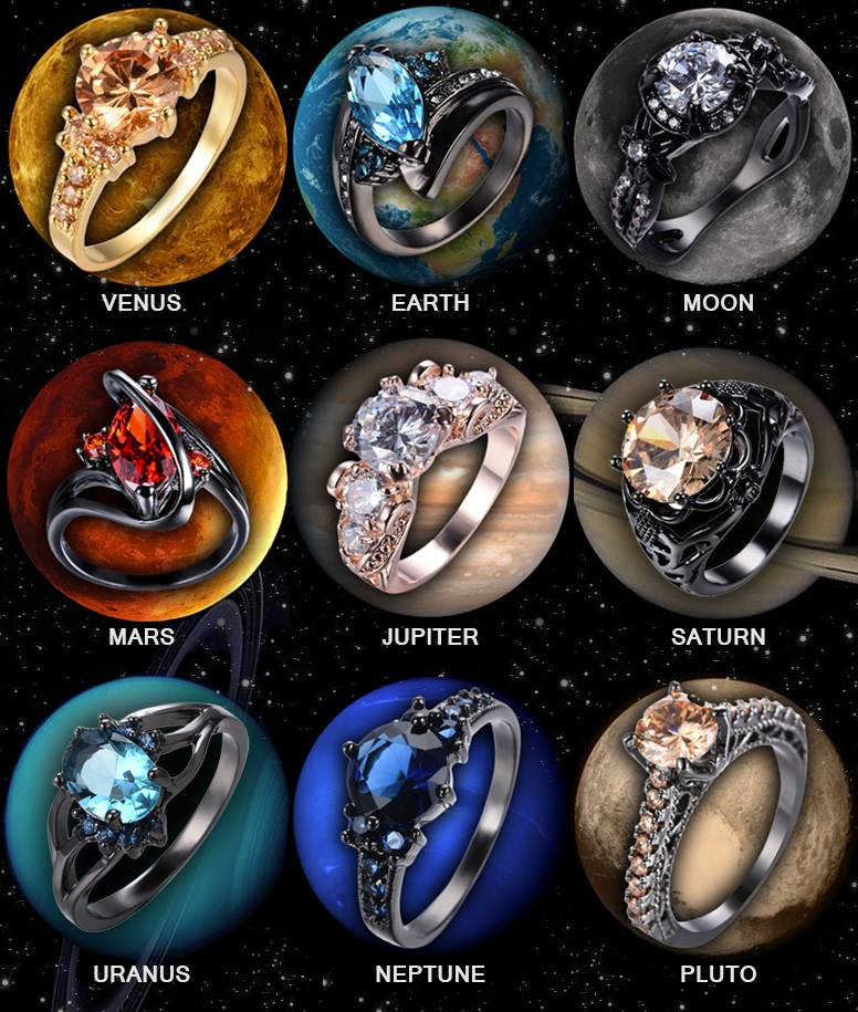 galactic rings - Geeky Wedding Rings