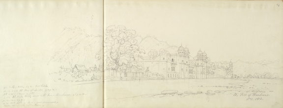 Robert Smith, The Ghats at Haridwar, January 1813. Pencil on paper. Size of folio: 27 by 44.5 cm. WD309, ff.21v, 22.