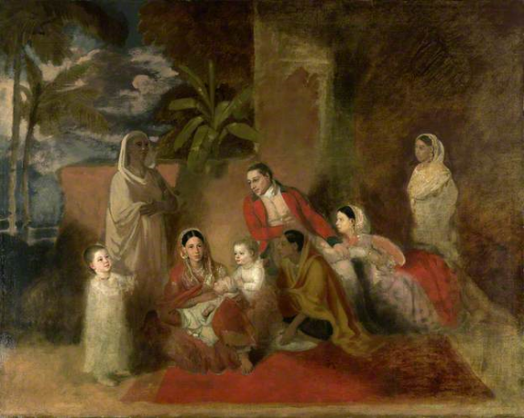 Major William Palmer with his second wife, the Mughal princess Bibi Faiz Bakhsh by Johann Zoffany, 1785. Oil on canvas; 40 by 50 ins (127 by 101.5 cms). British Library, F597.
