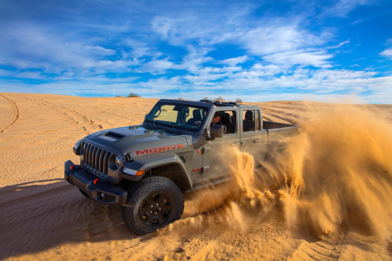 2020 Jeep Gladiator Mojave Kicking Up Sand In Desert