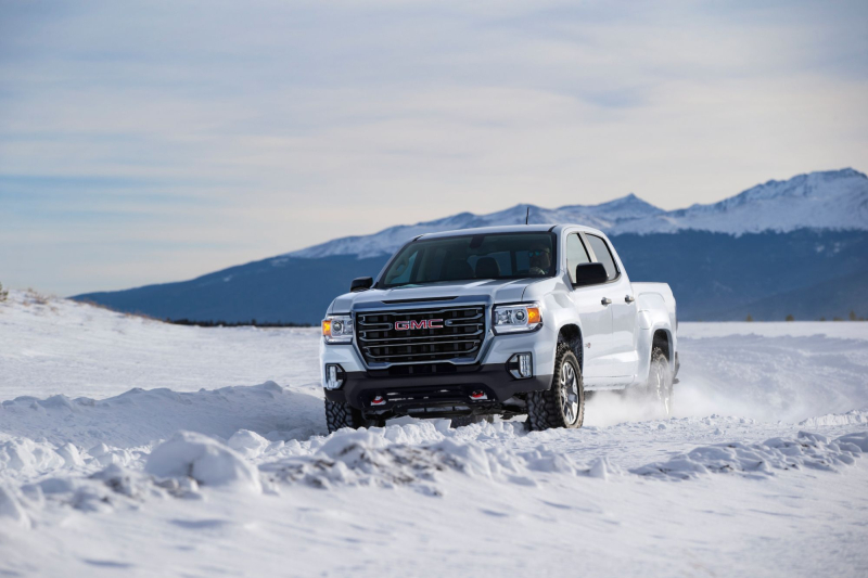 2021 GMC Canyon AT4 Front View Driving in the Snow