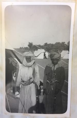 Shaikh Ahmad al-Haiya'i of Dhank, Al Bu Shams (left) and his son (right)