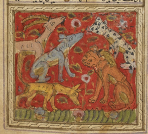 Left: The hare tricks the lion into attacking his own reflection in a well (Or.13506, f. 52v) Right: The lion with its courtiers, leopard, wolf, gazelle and Dimnah the jackal (Or.13506, f. 41r)