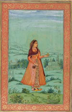 lady with a wine cup, attributed to Bichitr, 1630-33 (British Library Add.Or.3129, f.28r)