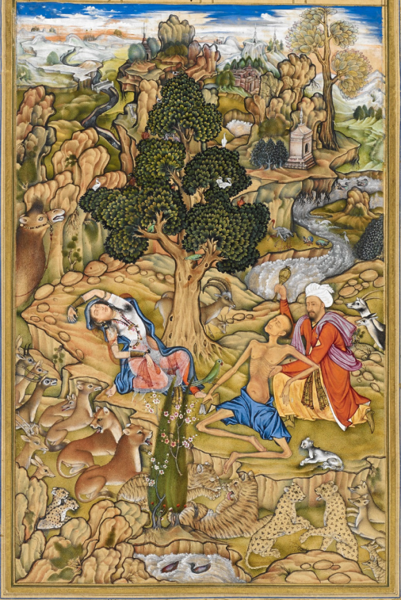 Zayd revives the fainting Laylá and Majnūn (Qays) in the wilderness in Laylá va Majnūn from the Khamsah of Niẓāmī written for the Timurid/Mughal Emperor Akbar I. Ascribed to Farrukh Chelah (BL Or 12208, f. 123r)