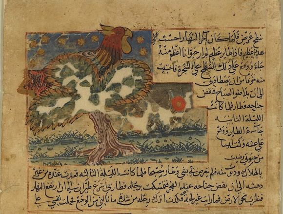 Fabulous giant bird illustrating the story of the how the man from Isfahan was rescued from a desert island and carried to safety by clinging to the bird's leg (Or.14140, f. 39r)