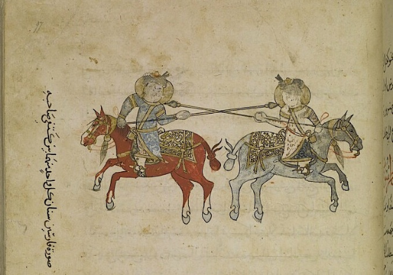 (f. 97r) 'Illustration of two horsemen whose lance-heads are between each other's shoulder-blades'.