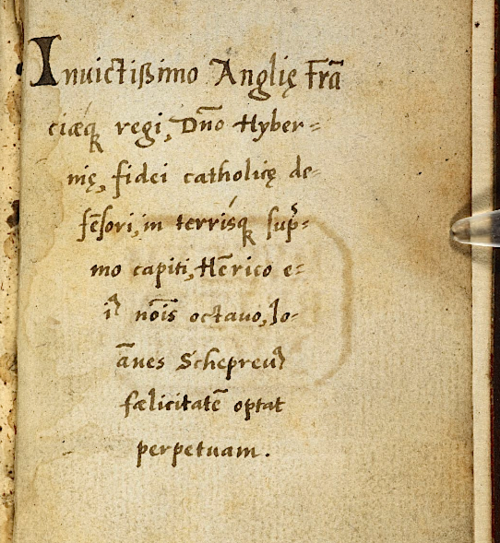 Dedication to Henry VIII (f. 1v)