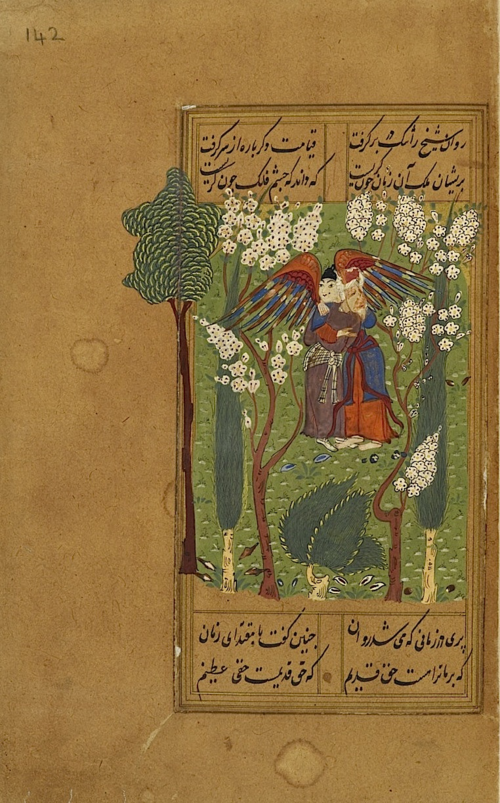 The story of the pari, who teaches the ascetic three 'Great Names', each of which, when uttered in an emergency will grant the ascetic's wish (BL IO Islamic 3241, f. 142r)