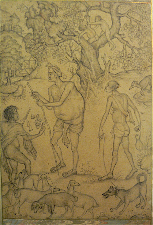A shepherd offers flowers to a holy man. Attributed to Basawan, c. 1585 (British Library J.22, 13)