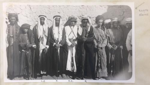 Rashid bin Hamad of Hamasah, Al Bu Shams (Centre); Shaikh Mohamed bin Hamad, younger brother of above (Left Centre); Son of Shaikh Rashid (Right Centre); Shaikh Ibrahim bin Uthman, Abu Dhabi Wali (Right)