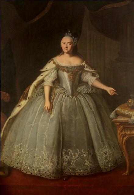 Portrait of Empress Elizaveta_Petrovna in royal regalia and a white gown