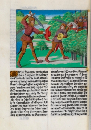 A giant fighting with King Arthur while mounted knights look on