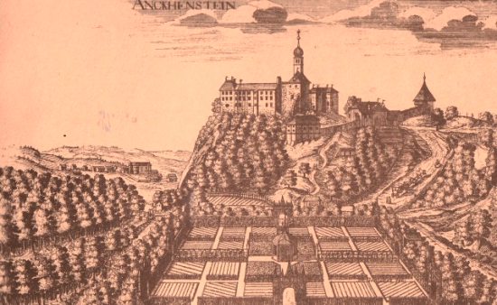 17th-century engraving of Castle Borl seen from the garden side