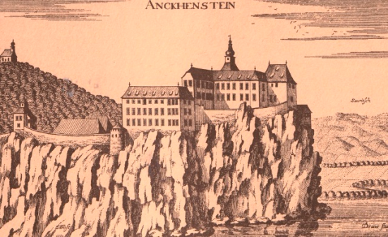 17th-century engraving of Castle Borl seen from the river