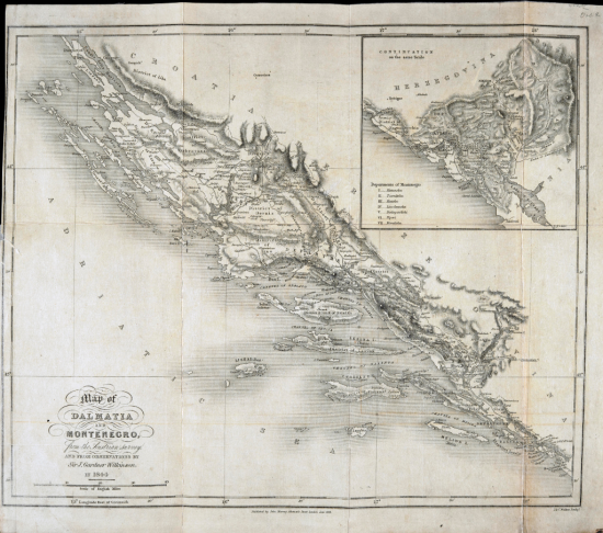 19th-century British map of Montenegro