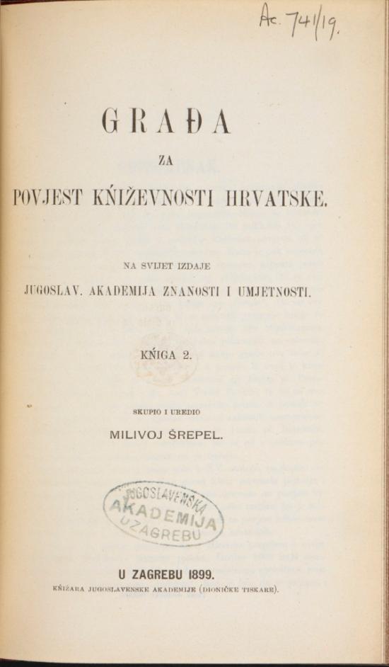V 1899 JAZU