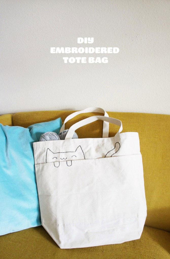 DIY Embroidered Cat Tote Bag