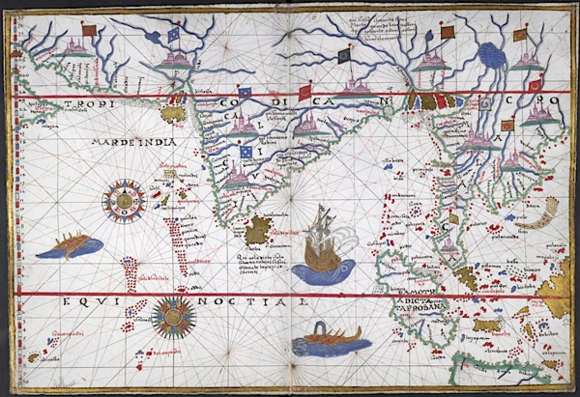 The Indian Ocean world in the 16th century, from an Italian portolano.  British Library, Harley 3450, no.6