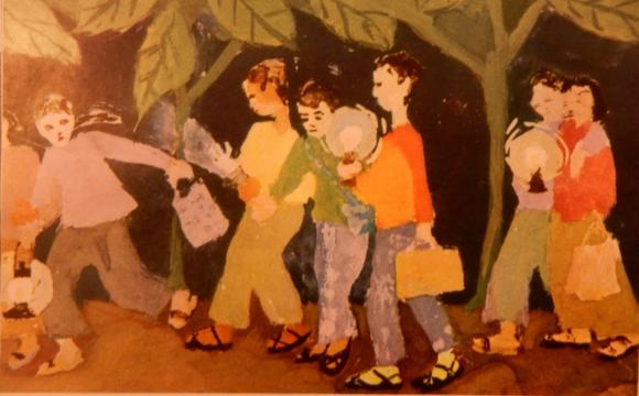 'Going to school at night' (Đi học đêm) by Phi Tiến Sơn, 12 years old. Việt Nam, no.154, 1971 p. [14]. British Library, SU 216(2)