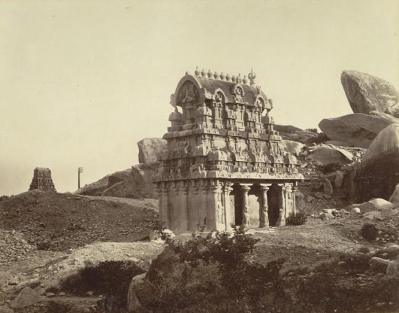 The original Arjuna Ratha (now called the Ganesha Ratha) at Mahabalipuram. British Library, Photo 472/1(28)
