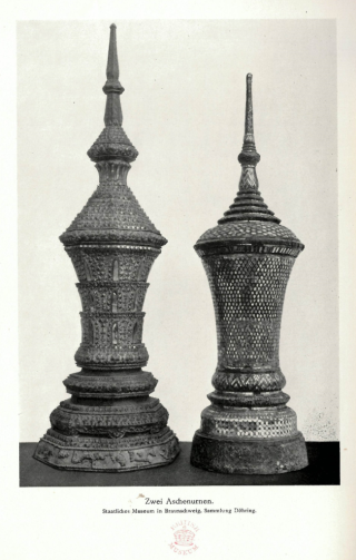 Photograph of two stupa-shaped wooden urns with lavish lacquer, gold and mirror-glass-inlay decorations in which the ashes were transferred to their final resting place. Photograph published in: Döhring 1923, vol. 2, p.36. British Library, J/10152.tt.26