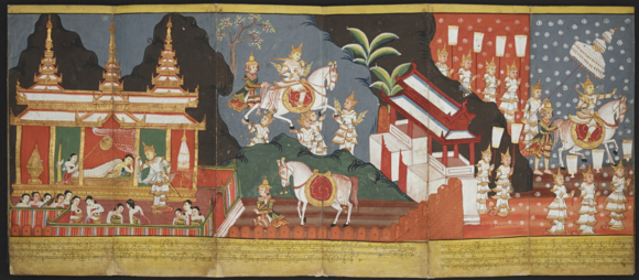 The Great Departure: shown above is the famous renunciation of Prince Siddhartha. On the left, he takes a last look at his sleeping wife and newborn son. Then he rides out of the palace, while the gods muffle the horse's hooves with their hands so that the palace and city will not be awakened.  British Library, Or.4762, ff. 3-5.