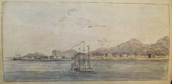 A view of Penang from the sea. Anonymous watercolour, bound in to a copy of Norman Macalister, Historical memoir relative to Prince of Wales Island (London, 1803), presented by the author to Alexander Dalrymple. (With thanks to Nicholas Martland for first showing me this drawing.) British Library, 571.h.19.