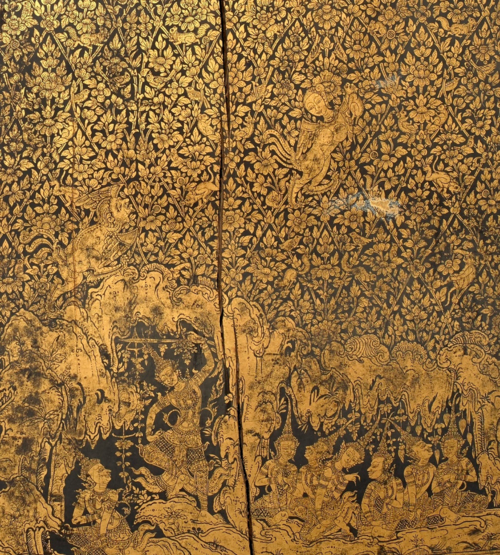 "Detail from a large wooden manuscript cabinet from central Thailand showing a scene from the Mahosadha Jataka, one of the last Ten Birth Tales of the Buddha. The filigrane gold and lacquer decoration made in ""lai rot nam"" technique is of outstanding quality (19th century). Gift from Doris Duke's Southeast Asian Art Collection. British Library, Foster 1057"