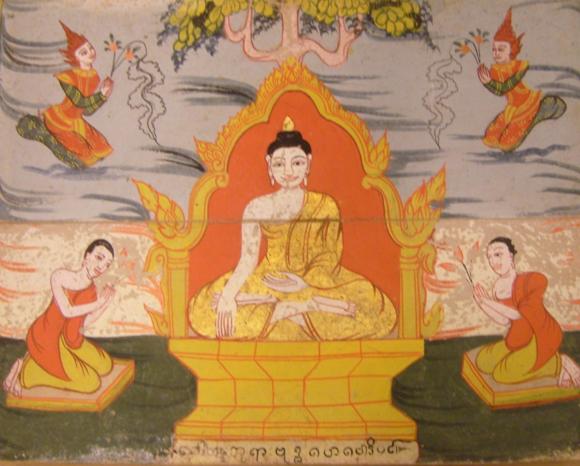 Gautama Buddha attained Enlightenment under a Peepal Bodhi tree, British Library, Or. 14823, f. 26.