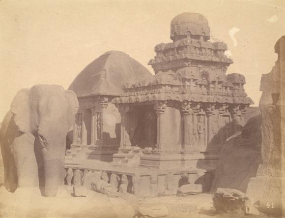 The original Sahadeva Ratha (now called the Arjuna Ratha) at Mahabalipuram. British Library, Photo 1003/(2226)